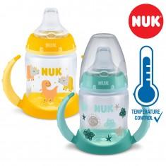 NUK PP First Choice+ шише 150мл со рачки и силикон клунче  - Tempеrature Control (6+мес.)
