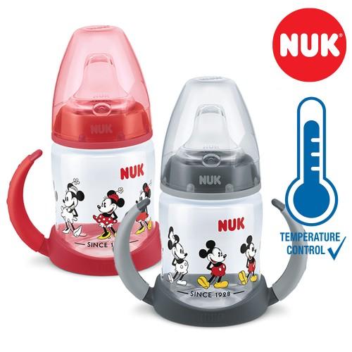 "NUK PP First Choice+ шише 150мл со рачки и силикон клунче ""Disney Mickey"" - Tempеrature Control (6+мес.)"