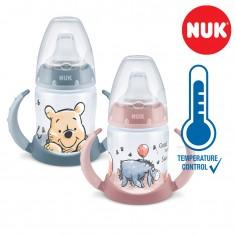 "NUK PP First Choice+ шише 150мл со рачки и силикон клунче ""Disney Winnie"" - Tempеrature Control (6+мес.)"