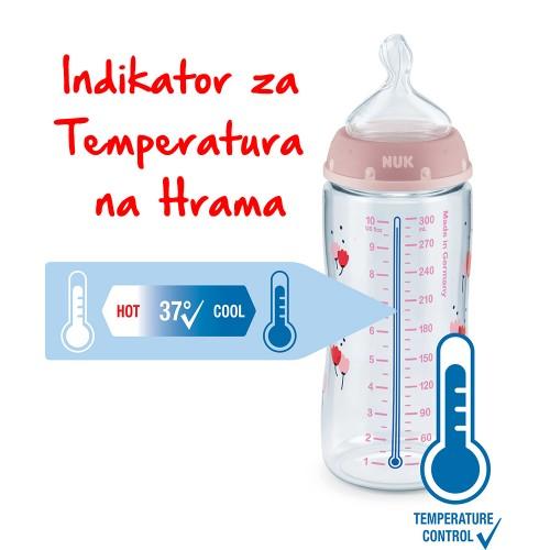 "NUK First Choice+ шише ПП 300мл ""FRUITS"" силикон (6-18мес.) - Temperature Control"
