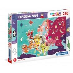 """Clementoni Explore Maps """"Знаменитости на Европа"""" 250пар.(7+год.)"""
