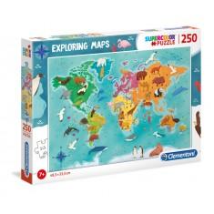 Clementoni Explore Maps Мапа на Животни во Светот 250пар.(7+год.)